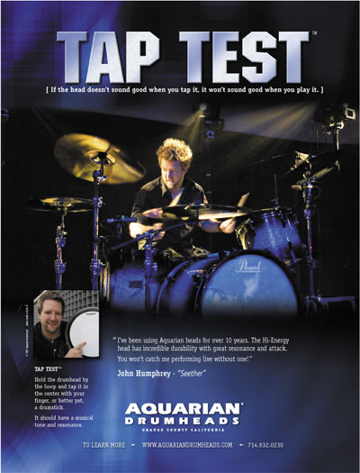 AQUARIAN DRUMHEADS TapTest Ad Modern Drummer