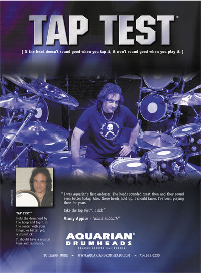 AQUARIAN DRUMHEADS - TapTest Ad Modern Drummer